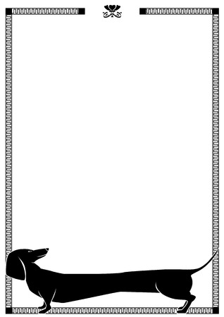 white dog: vector frame with dog dachshund in black and white colors