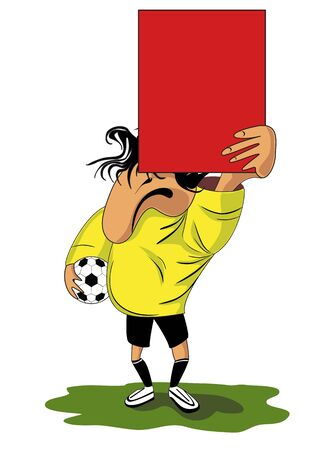 punishing: Vector illustration of  football (soccer) referee with red card