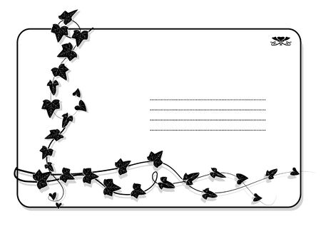 vector background with branch of ivy in black and white colors