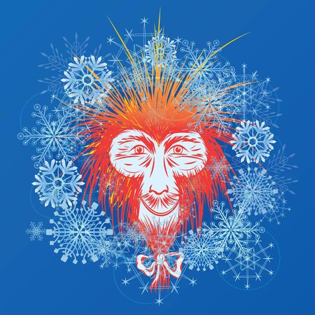 macaque: vector New Year illustration with stylized Japanese macaque and snowflakes (EPS 10)