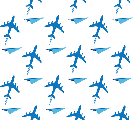 aeroplanes: vector seamless background with airplanes in blue colors