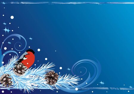 hoarfrost: vector Christmas background with bullfinch and fir