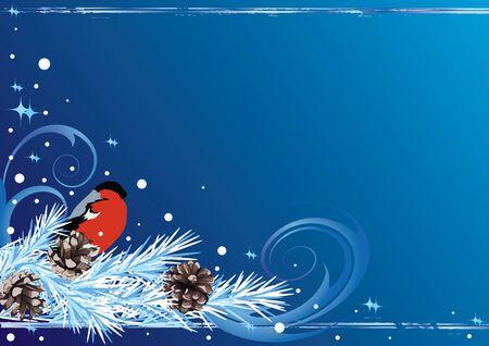 bullfinch: vector Christmas background with bullfinch and fir