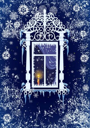 windowsill: Vector Christmas background with candle, window and snowflakes