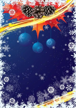 red white blue: Christmas vector background  in blue and red colors with pine cones and snowflakes.