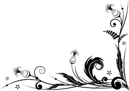 黒と白の色で様式化されたアザミとコーナー デザインのベクトル境界線  イラスト・ベクター素材