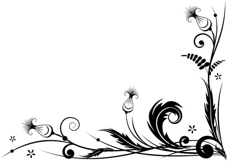 vector border for corner design with stylized thistle in black and white colors Vettoriali