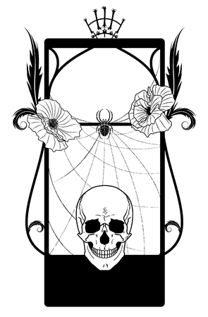 necromancy: vector frame with skull and poppies in black and white colors Illustration