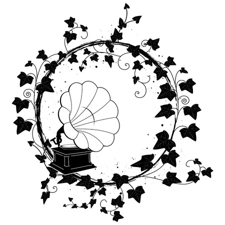 vector round frame with branch of ivy and gramophone Illustration