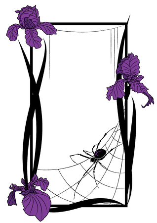 black art: Vector frame with spider and flowers of iris Illustration