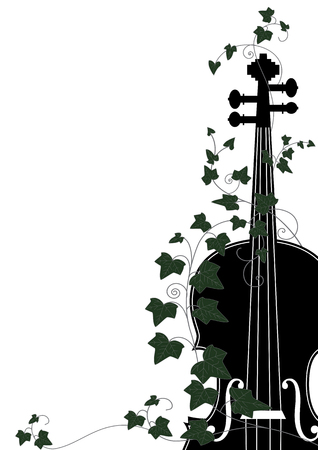 Vector floral musical composition with violin end ivy