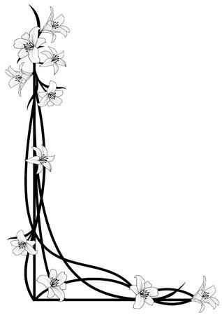 コーナー デザインのユリの花と背景