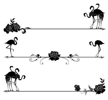 animal silhouette: set of borders with flamingo and roses in black and white colors