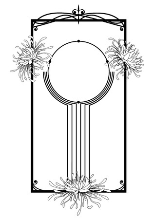flower border: chrysanthemum, floral frame in black and white colors