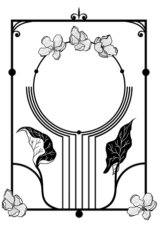 flower art: vector frame with apple flowers  in black and white colors