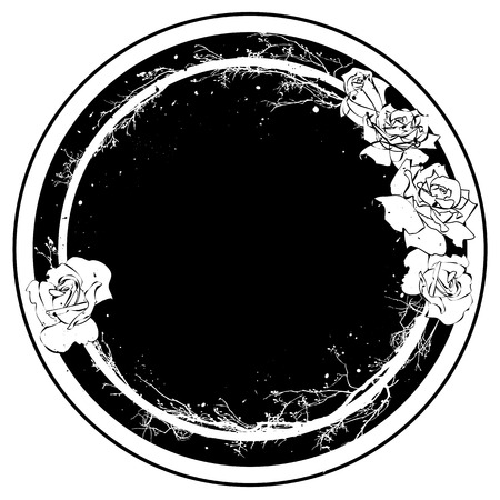 white roses: vector frame with flowers of roses in black and white colors