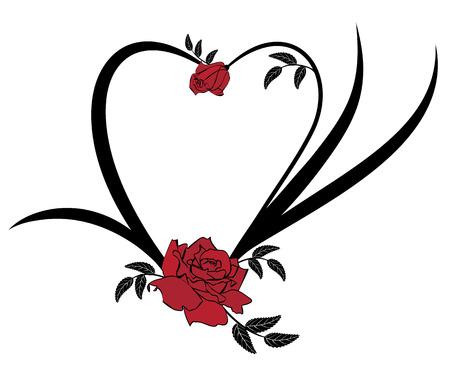 rosas negras: Marco del vector de San Valentín con rosas en colores negro y rojo