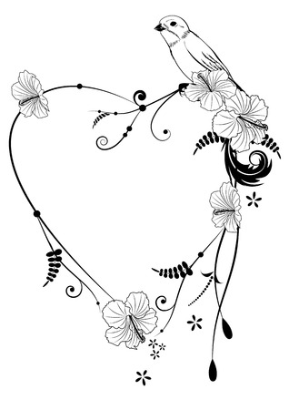 flower art: Valentine vector frame with bird and hibiscus in black and white colors Illustration