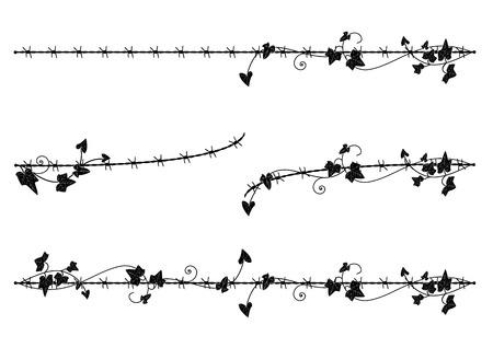 アイビーと有刺鉄線のベクター ビネットのセット  イラスト・ベクター素材