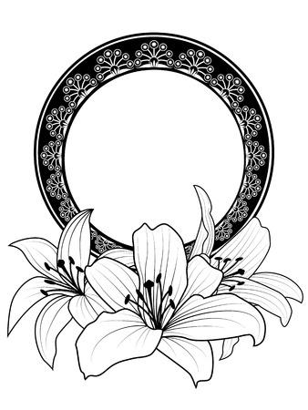 lirio blanco: Vector marco floral con flores de lirio en colores blanco y negro