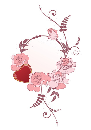 finesse: frame with heart and flowers of roses Illustration