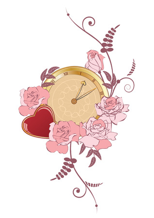 illustration with clock, heart and flowers of roses