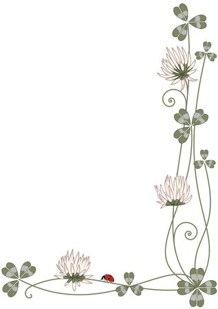 corner design: Vector background with clover and ladybird for corner design