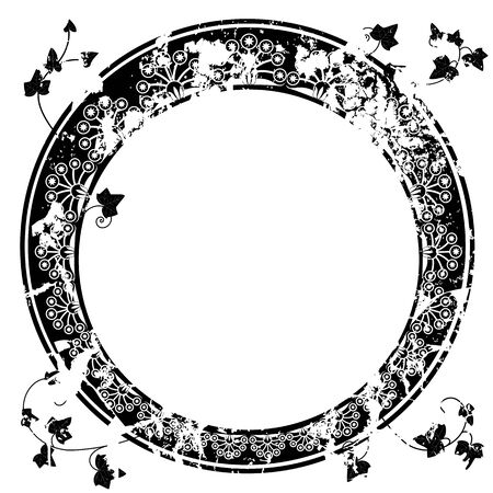 fresco: round vector frame with ivy in black and white colors
