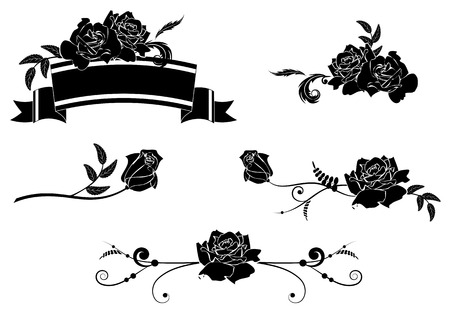 flower art: set of design vector elements with roses
