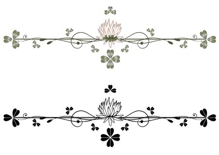set of vector vignette with clover in green, black and white colors