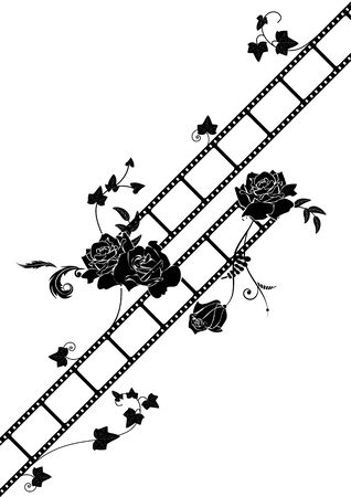melodrama: vector film strip background with roses in black and white colors Illustration