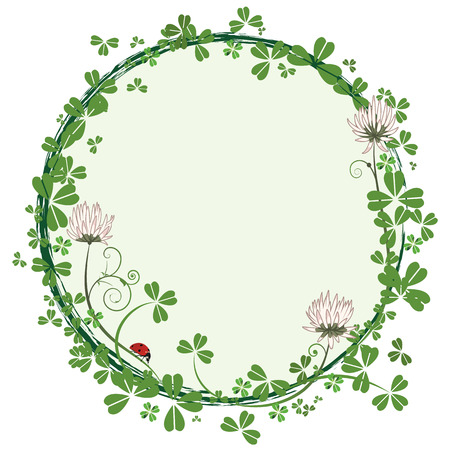 patric banner: vector round frame with clover and ladybird