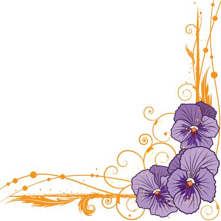 violeta: Vector de la frontera floral con pensamientos violetas