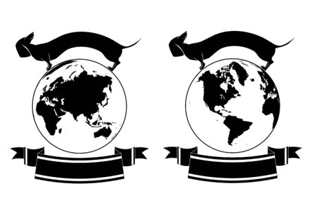 badger dog: set of vector backgrounds with globe hemisphere and dachshund