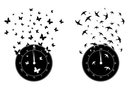 swallows: set of vector illustrations with clock, butterflies and swallows in black and white
