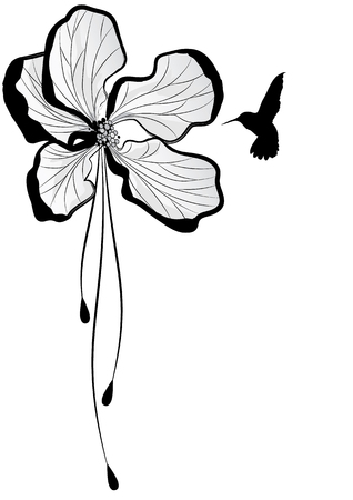 stylised: Floral with flower of apple tree and hummingbird Illustration