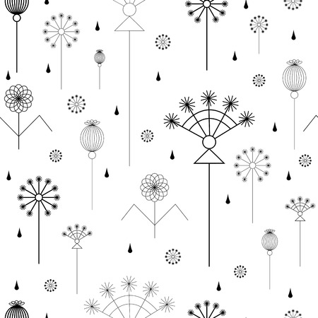 umbel: seamless background with grass in black and white Illustration