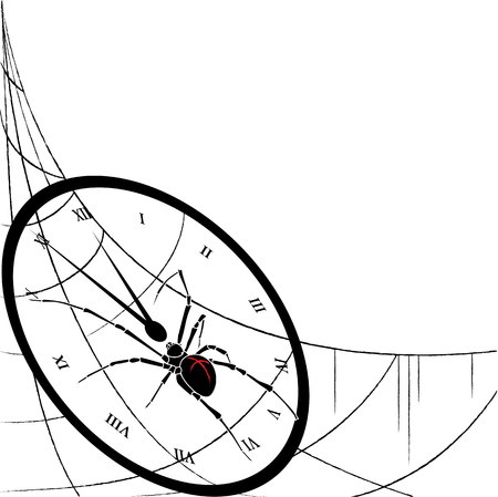 tardiness: illustration of spider and  clock entangled in spiderweb