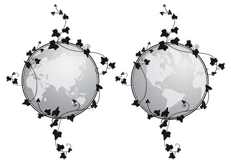 set of illustrations of the globe and ivy in grayscale Illustration