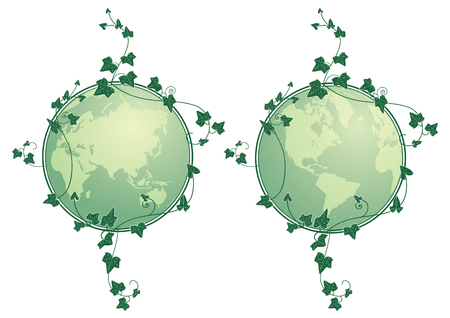 set of illustrations of the globe and ivy in green color