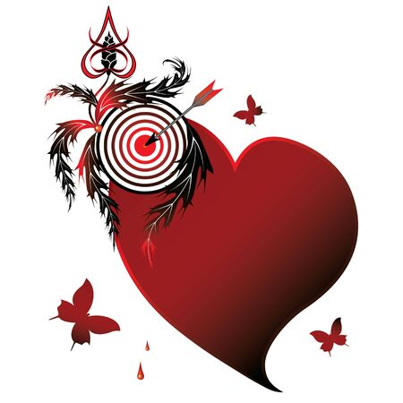 jealousy: illustration with heart, butterflies  and target