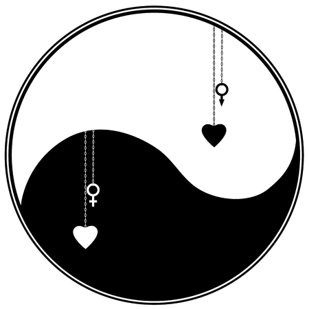 karma concept: ying yang symbol with heart and astronomical sign Venus, Mars
