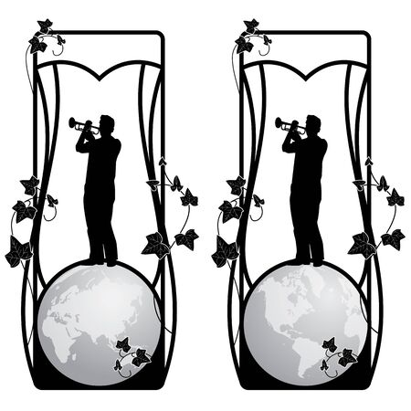 edera: set of frame with trumpeter, globe and ivy in black and white Illustration