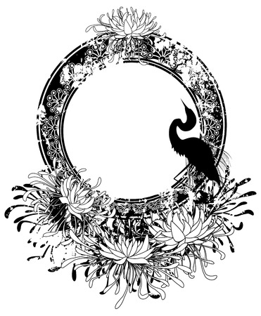 flower art: frame with chrysanthemum and heron in black and white
