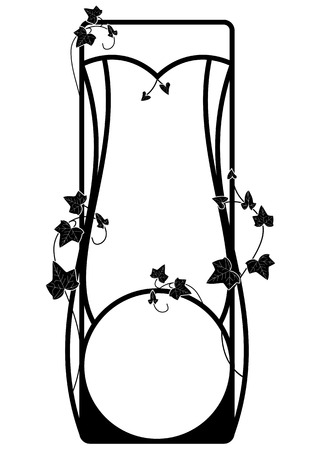 frame with ivy in black and white Illustration