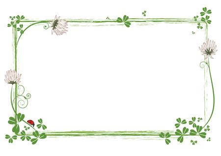 cornice con fiori di trifoglio e coccinella Vettoriali