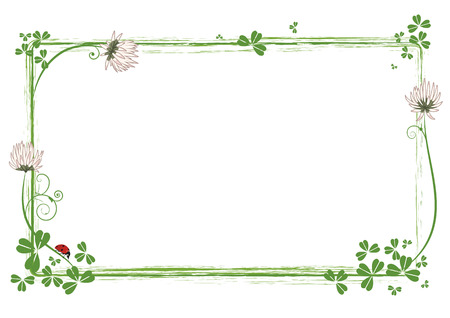 frame with flowers of clover and ladybird Stock Illustratie