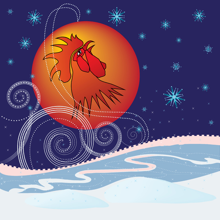 hoarfrost: New Year 2017 background with rooster Illustration