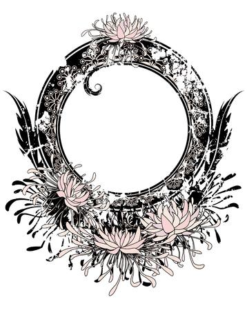 rosa negra: marco con el crisantemo en color rosa, blanco y negro Vectores
