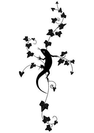edera: vignette with lizard and ivy in black and white color Illustration